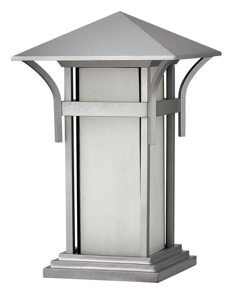 Hinkley Lighting 2576TT-GU24 Harbor 1 Light 17 inch Titanium Pier Mount Lantern in Etched Seedy GU24 Seedy Glass