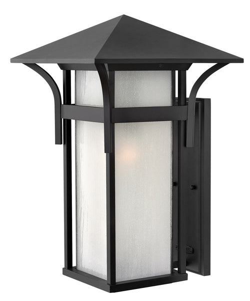 Hinkley Lighting 2579SK-GU24 Harbor 1 Light 21 inch Satin Black Outdoor Wall in Etched Seedy GU24 Seedy Glass