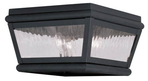Livex Exeter 2 Light 8 inch Black Outdoor Ceiling Mount