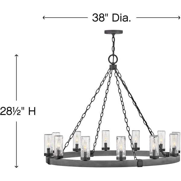 Hinkley Lighting 29207DZ Sawyer 12 Light 38 inch Aged Zinc with Distressed Black Outdoor Hanging Light Open Air