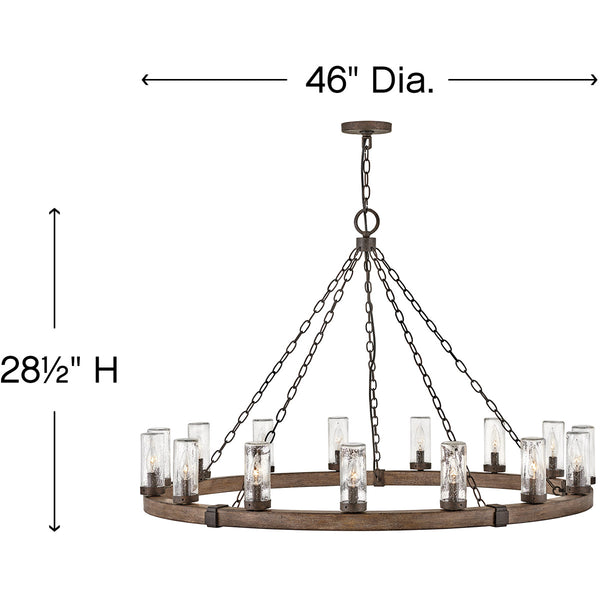 Hinkley Lighting Sawyer 15 Light 46 inch Sequoia with Iron Rust Outdoor Hanging Light Open Air