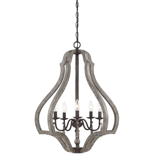 Savoy House Lighting Kenwood 5 Light 24 inch Weathered Ash Lantern