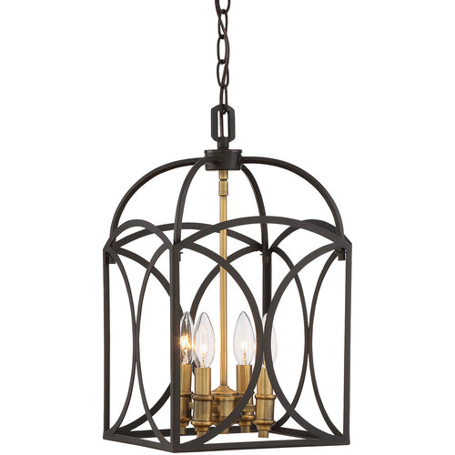 Savoy House Lighting Talbot 4 Light 10 inch English Bronze And Warm Brass Lantern Small