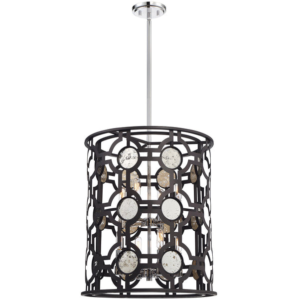 Savoy House Lighting Chennal 8 Light 19 inch Bronze And Chrome W/ Antique Mirror Accents Lantern