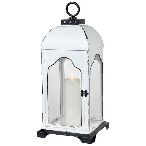 Pomeroy 404535 Freswick 10 inch Colonial White and Clear Lantern Large
