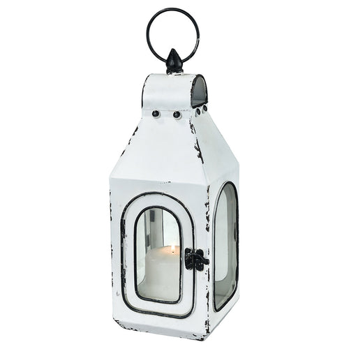 Pomeroy 404542 Freswick 5 inch Colonial White and Clear Lantern Small
