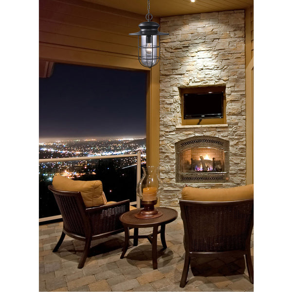 Decovio 14204-MB1 Colesville 1 Light 11 inch Matte Black Outdoor Pendant