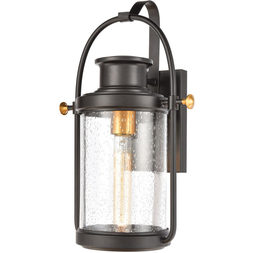 ELK Lighting 46670/1 Wexford 1 Light 16 inch Matte Black with Brushed Brass Outdoor Sconce