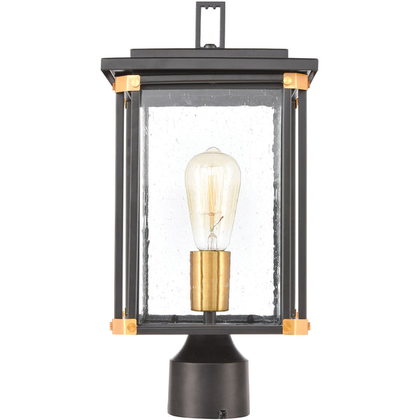Decovio Gettysburg 1 Light 17 inch Matte Black with Brushed Brass Outdoor Post Mount