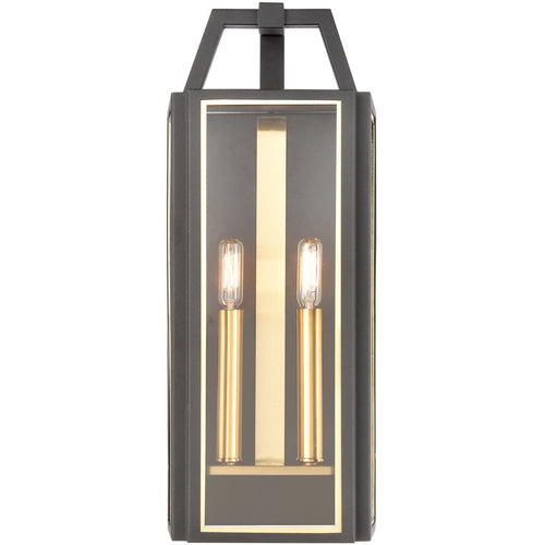 ELK Lighting 46741/2 Portico 2 Light 21 inch Charcoal with Brushed Brass Outdoor Sconce