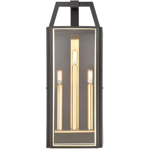 ELK Lighting 46742/3 Portico 3 Light 27 inch Charcoal with Brushed Brass Outdoor Sconce
