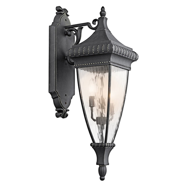 Kichler Lighting 49132BKG Venetian Rain 3 Light 31 inch Black W/Gold Outdoor Wall Lantern
