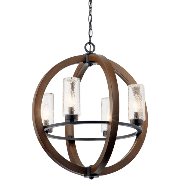 Kichler Lighting Grand Bank 4 Light 20 inch Auburn Stained Outdoor Chandelier