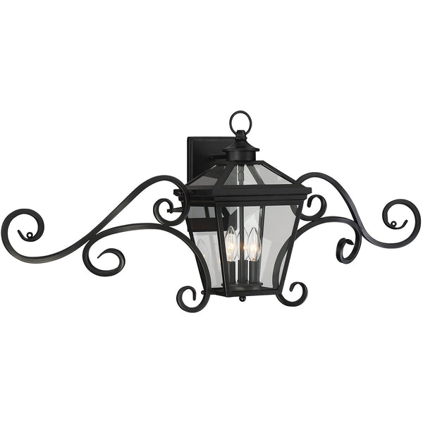 Savoy House Lighting 5-143-BK Ellijay 3 Light 17 inch Black Outdoor Wall Lantern with Mustache