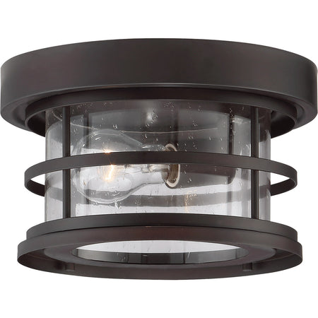 Trans Globe Lighting Benkert 1 Light 11 inch Black Outdoor Flushmount Lantern