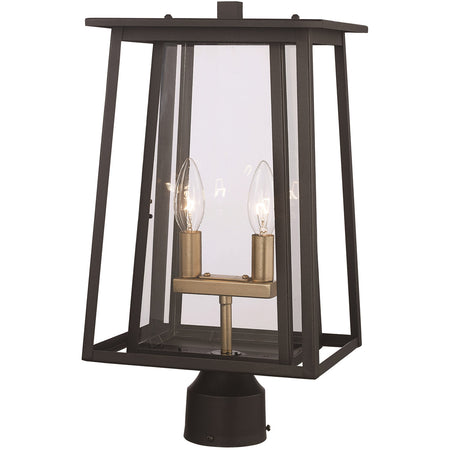 Trans Globe Lighting Downing 1 Light 17 inch Brushed Nickel Outdoor Postmount Lantern
