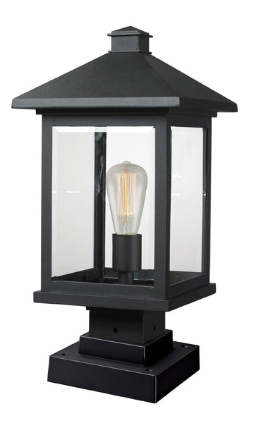 Z-Lite 531PHBS-SQPM-BK Portland 1 Light 20 inch Black Outdoor Pier Mounted Fixture in Clear Beveled Glass