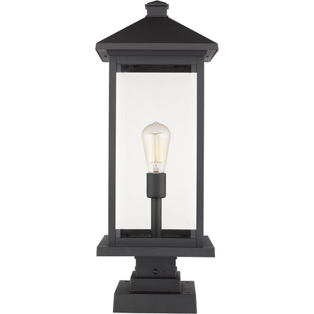 Livex Nyack 3 Light 20 inch Black with Brushed Nickel Cluster Outdoor Post Top Lantern