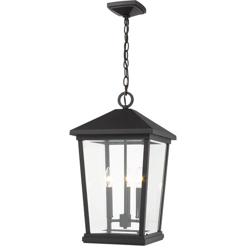 Z-Lite Beacon 3 Light 12 inch Black Outdoor Chain Mount Ceiling Fixture
