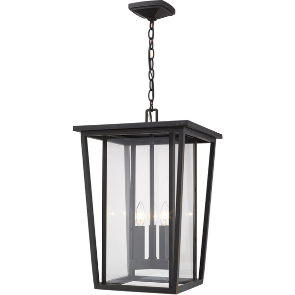 Z-Lite Seoul 3 Light 14 inch Oil Rubbed Bronze Outdoor Chain Mount Ceiling Fixture