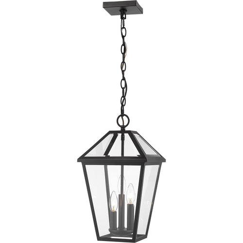 Z-Lite Talbot 3 Light 10 inch Black Outdoor Chain Mount Ceiling Fixture