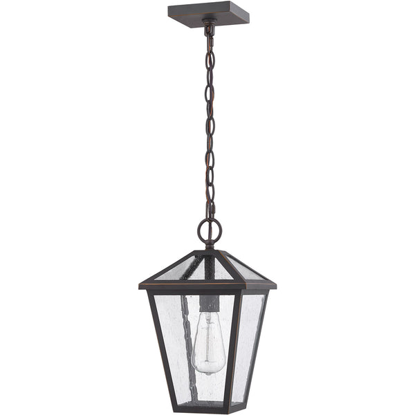 Z-Lite Talbot 1 Light 8 inch Rubbed Bronze Outdoor Chain Mount Ceiling Fixture in Seedy Glass