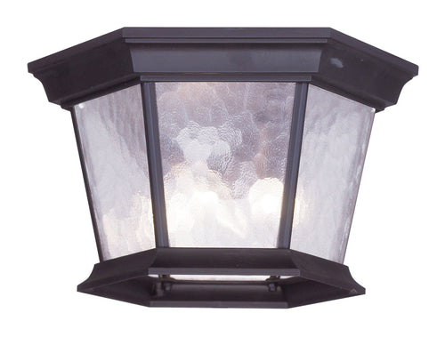 Livex Hamilton 3 Light 11 inch Bronze Outdoor Ceiling Mount in Clear Water