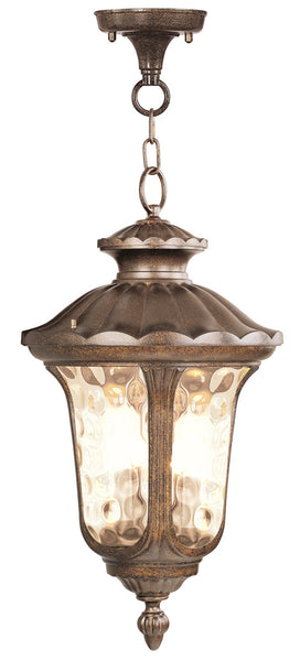 Livex Oxford 3 Light 14 inch Moroccan Gold Outdoor Hanging Lantern