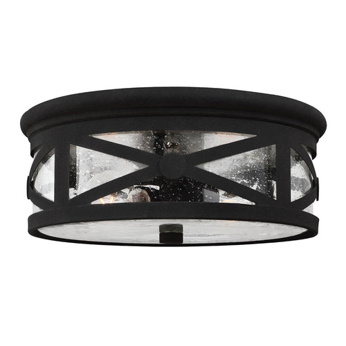 Sea Gull Lighting Lakeview 2 Light 13 inch Black Outdoor Flush Mount in Clear Seeded Glass