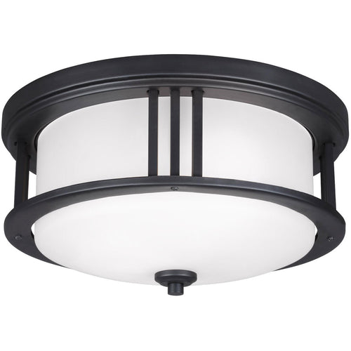 Sea Gull Lighting Crowell 2 Light 14 inch Black Outdoor Ceiling Flush Mount