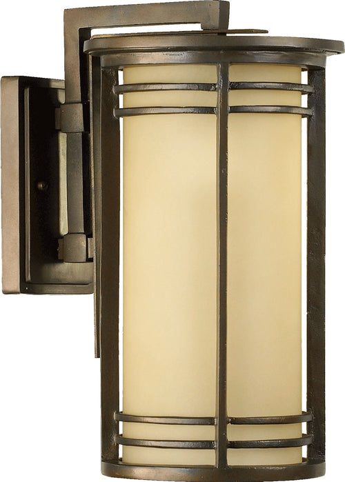 Quorum International 7916-9-86 Larson 1 Light 17 inch Oiled Bronze Outdoor Wall Lantern in Amber Scavo