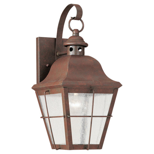 Sea Gull Lighting 8462-44 Chatham 1 Light 14 inch Weathered Copper Outdoor Wall Lantern in Clear Seeded Glass