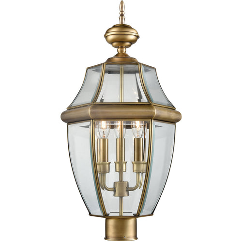 Thomas Lighting 8603EP/89 Ashford 3 Light 23 inch Antique Brass Outdoor Post Lantern Large