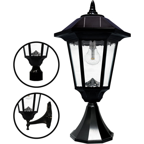 Gama Sonic GS-99M-FPW Windsor Morph 20 inch Black Solar Light with 3 Fitter""