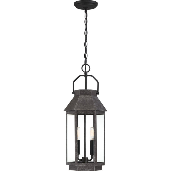 Quoizel Campbell 2 Light 10 inch Speckled Black Outdoor Hanging Lantern