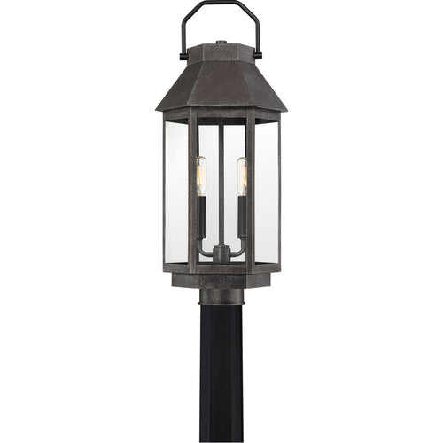 Quoizel Campbell 2 Light 22 inch Speckled Black Outdoor Post Light