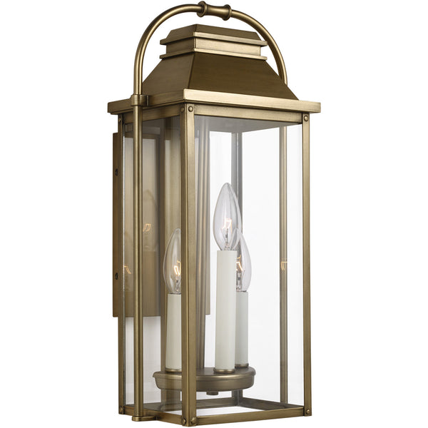 Feiss Wellsworth 3 Light 18 inch Painted Distressed Brass Outdoor Wall Lantern
