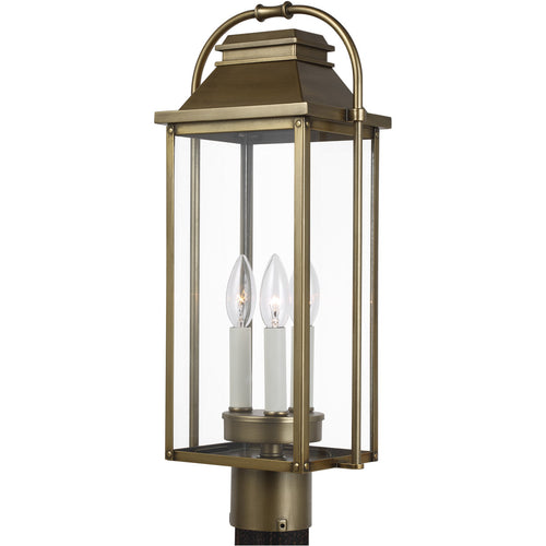 Feiss Wellsworth 3 Light 21 inch Painted Distressed Brass Post Lantern