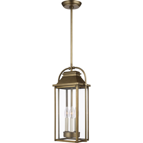 Feiss Wellsworth 3 Light 9 inch Painted Distressed Brass Outdoor Pendant Lantern