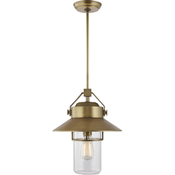 Feiss Boynton 1 Light 13 inch Painted Distressed Brass Outdoor Pendant Lantern