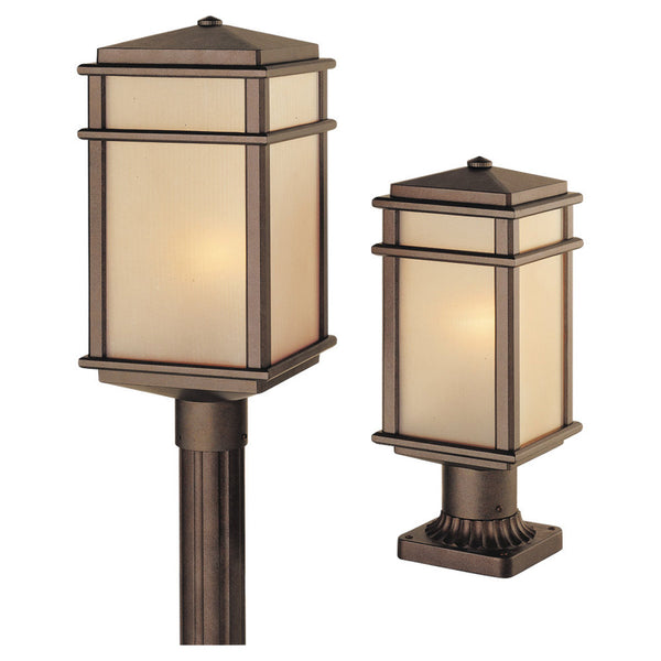 Feiss Mission Lodge 1 Light 16 inch Corinthian Bronze Post Lantern Amber Ribbed Glass