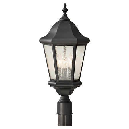 Livex Nyack 1 Light 15 inch Black with Brushed Nickel Cluster Outdoor Post Top Lantern