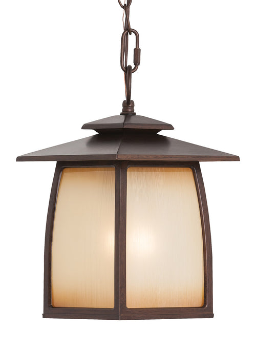 Feiss OL8511SBR-LED Wright House LED 8 inch Sorrel Brown Outdoor Pendant in Integrated LED Striated Ivory Glass