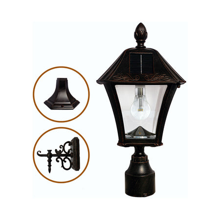 Gama Sonic GS-94B-FPW Victorian 15 inch Black Solar Light with 3 Fitter""