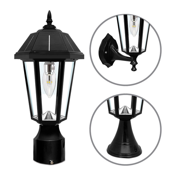 Gama Sonic Topaz 16 inch Black Solar Lamp with 3 Fitter""