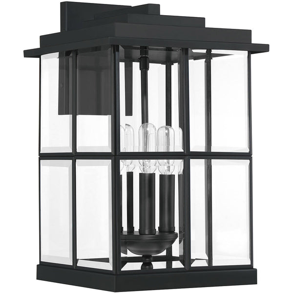 Quoizel Mulligan 3 Light 16 inch Matte Black Outdoor Wall Lantern