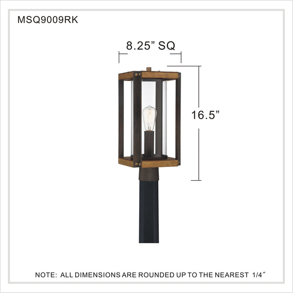 Quoizel Marion Square 1 Light 18 inch Rustic Black Outdoor Post Lantern