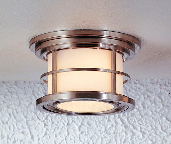 Feiss Lighthouse 2 Light 10 inch Brushed Steel Outdoor Flush Mount