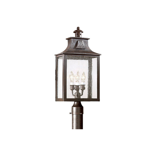 Troy-CSL Lighting Newton 3 Light 23 inch Old Bronze Post Lantern in Clear Seeded Incandescent