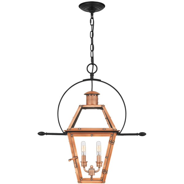 Quoizel Rue De Royal 2 Light 21 inch Aged Copper Outdoor Hanging Lantern